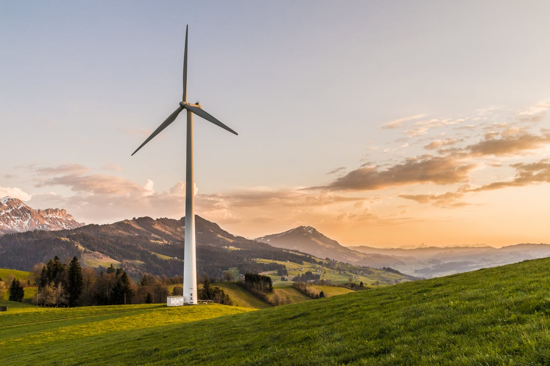 Vindkraftverk i naturen